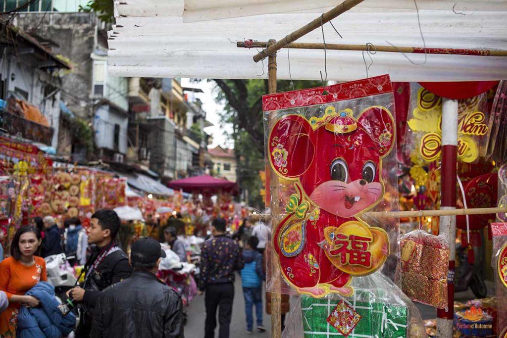 Décoration pour fêter l'année du rat, Hanoi, Vietnam
