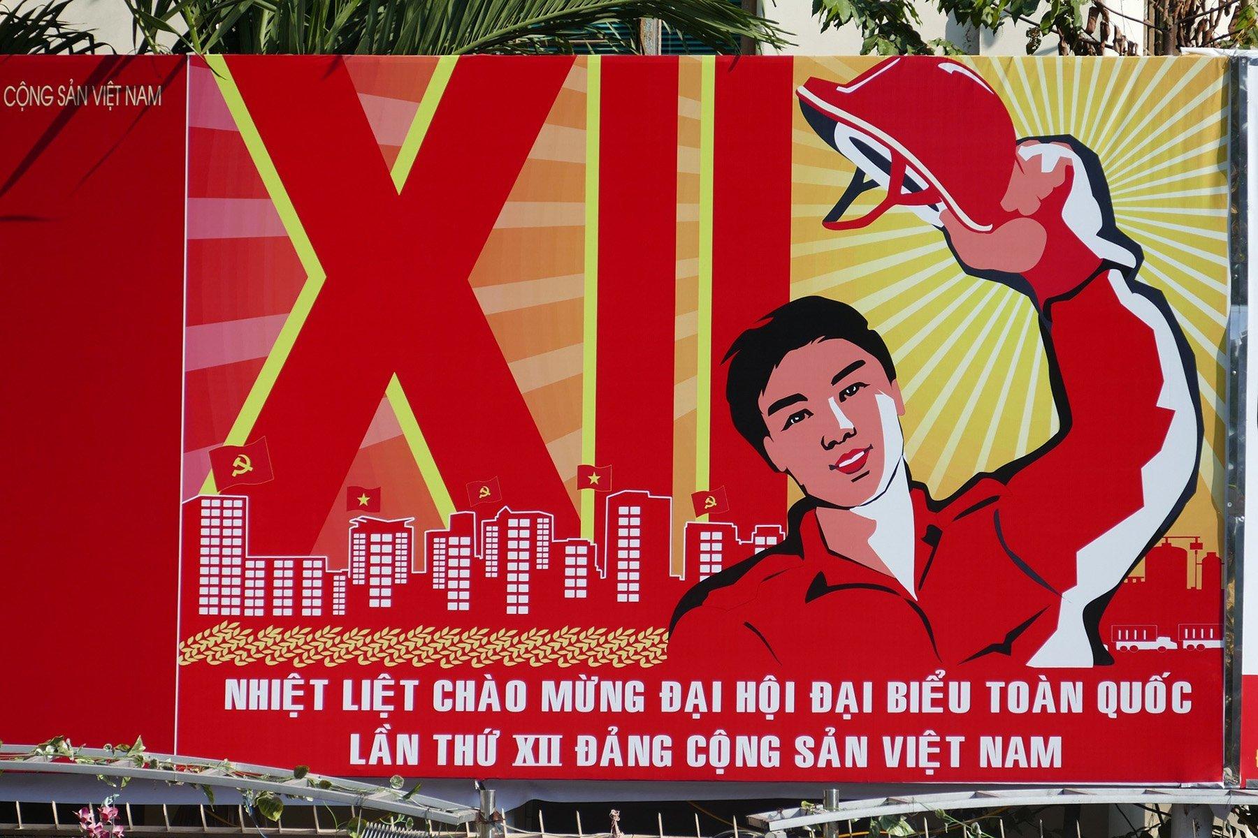 Panneau annoncant un congrès du Parti Communiste Vietnamien, Vietnam