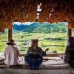 Femme travaillant et contemplant le paysage à Mu Cang Chai, Vietnam