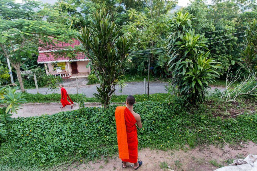 Moines sortant de leur monastère au Laos