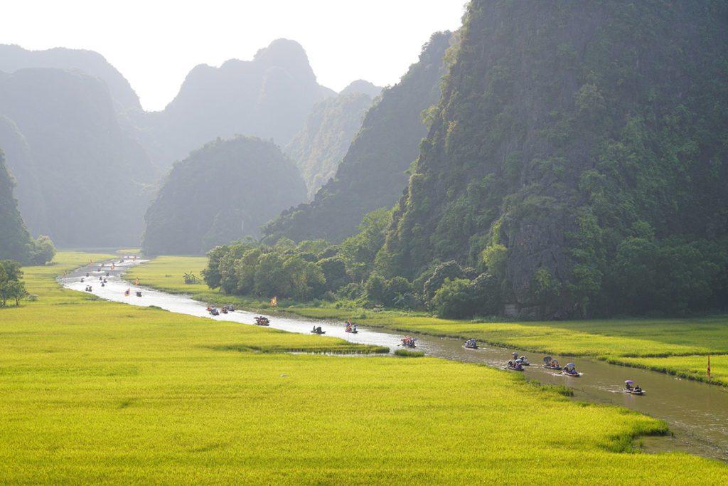 Paysage de Tam Coc avant la récolte du riz, Ninh Binh, Vietnam