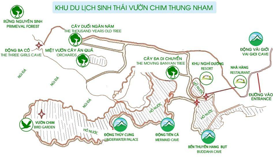 Carte du Parc Thung Nham, Ninh Binh, Vietnam