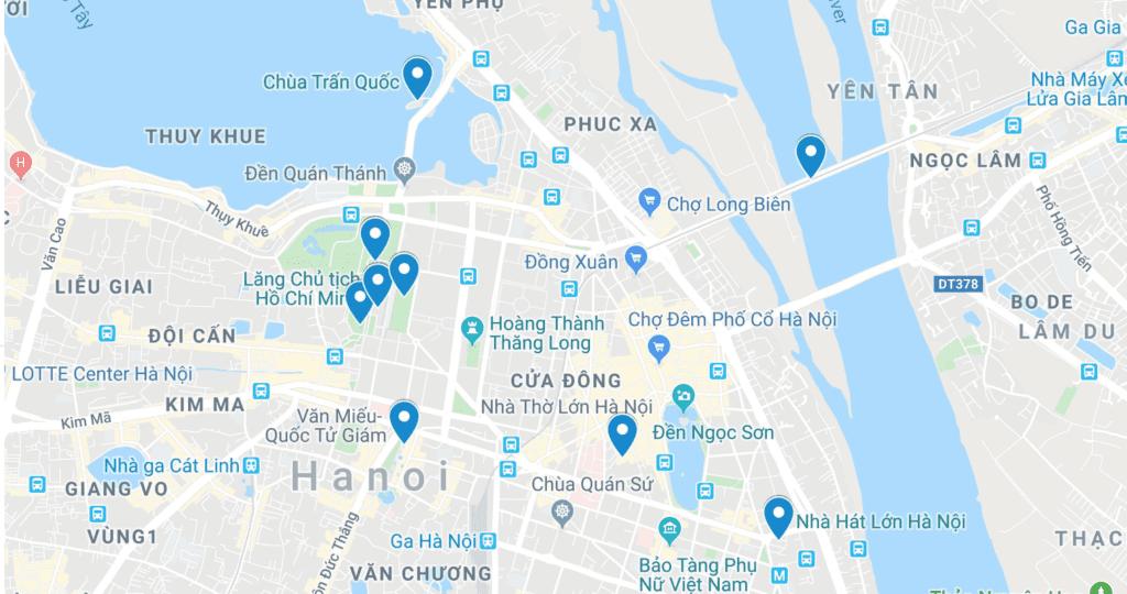 Carte des monuments historiques de Hanoi, Vietnam
