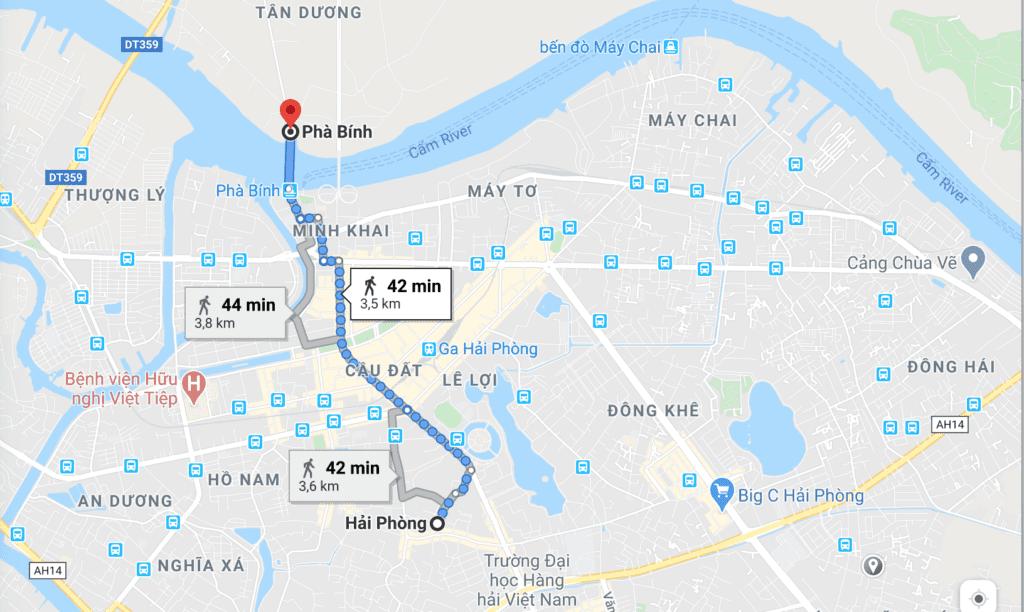 Itinéraire pour se rendre au port de Pha Binh depuis le centre de Haiphong