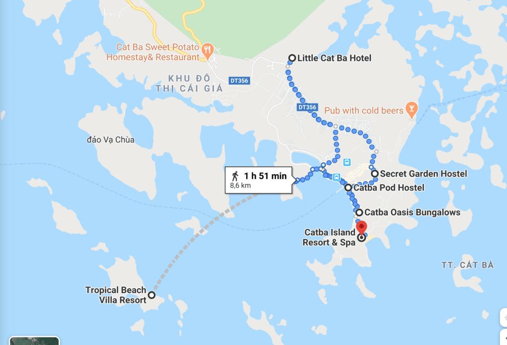 Localisation des meilleurs hôtels de l'ile de Cat Ba, Vietnam