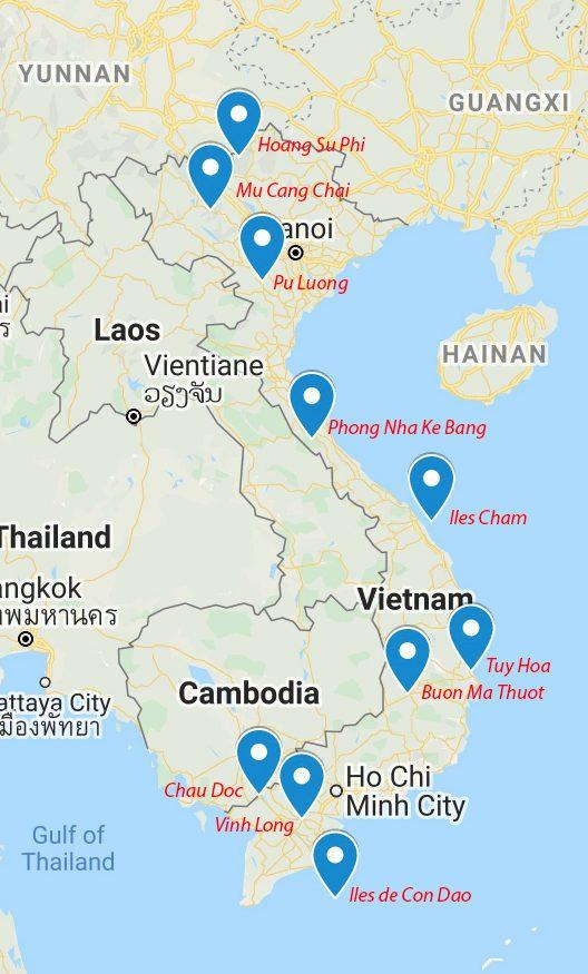Carte des destinations méconnues du Vietnam