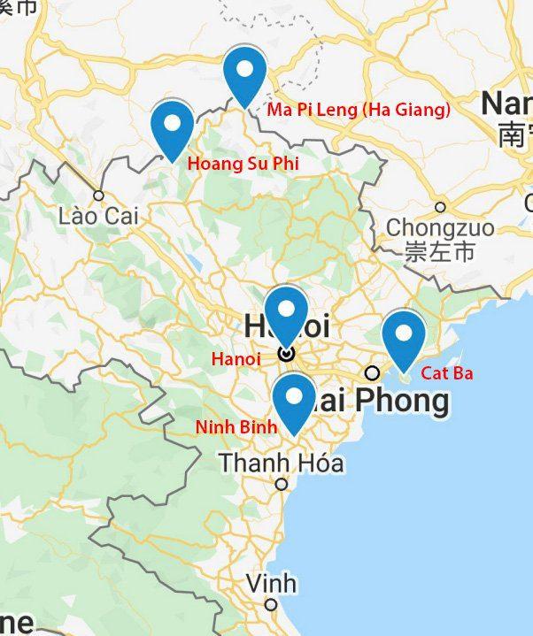 Carte des destinations incontournables au Nord Vietnam
