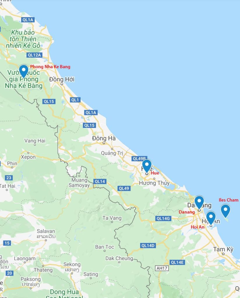 Carte des destinations incontournables au Centre Vietnam
