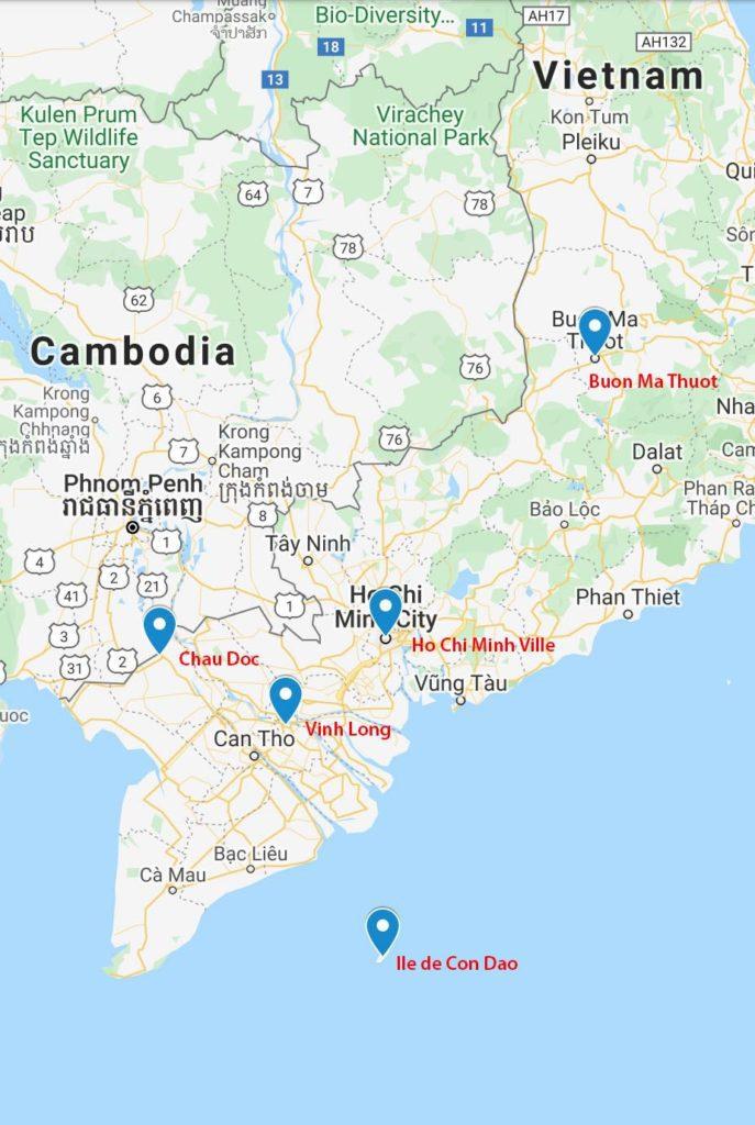 Carte des destinations incontournables au Sud Vietnam