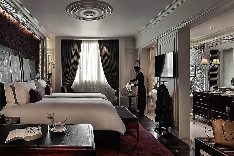 Intérieur luxueux d'une chambre de l'hôtel Métropole, Hanoi