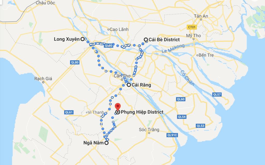 Les marchés flottants du delta du Mékong sur la carte