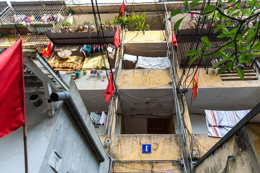 Exemple de façade d'immeuble dans un Khu Tap Thê, Hanoi