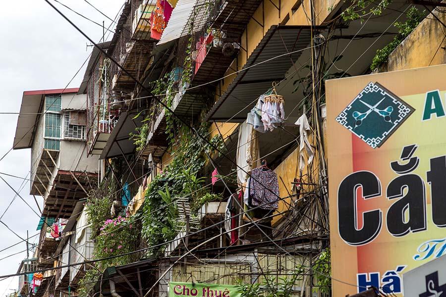 Vue extérieure des appartements d'un immeuble Khu Tap Thê, Hanoi