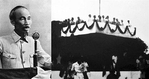 Photos d'Ho Chi Minh pendant la déclaration d'indépendance